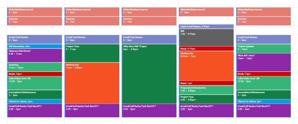 Calendar example for freelance web designer